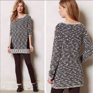Anthropologie Staccato Stripes & Lace Sweater